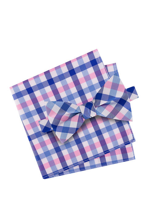 IZOD Lexington Gingham Pre Tied Bow Tie and