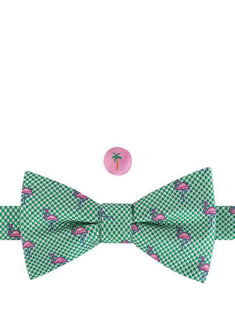 IZOD Flamingo Pre Tied Bow Tie and Lapel
