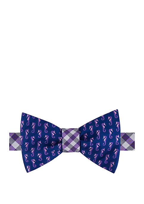 Seahorse Gingham Reversible Bow Tie and Pocket Square Set