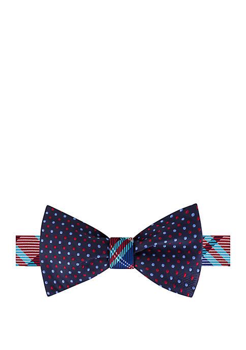 IZOD Plaid Dot Reversible Bow Tie