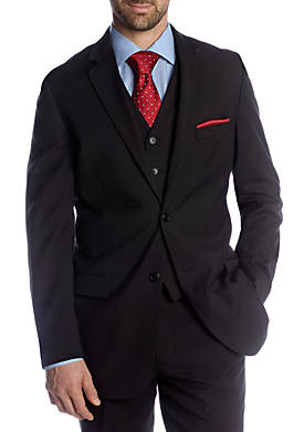 Portly Black Solid Suit Separate Coat