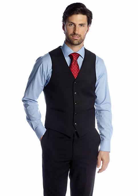 Adolfo Classic Fit Black Suit Separate Vest