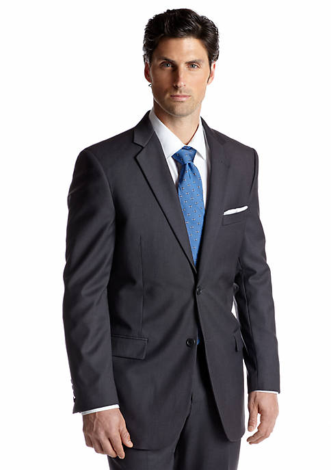 Adolfo Classic Fit Grey Solid Suit Separate Coat