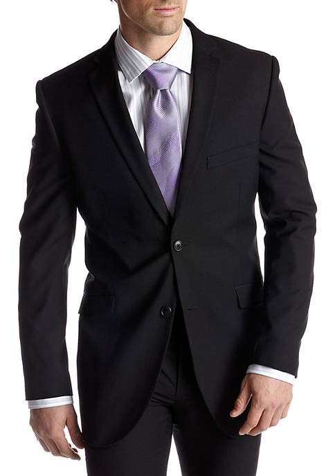 Adolfo Slim Fit Black Suit Separate Coat