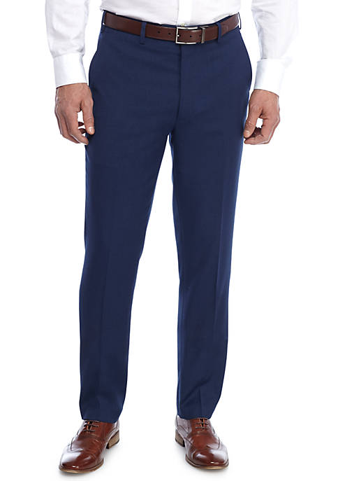 Adolfo Blue Birdseye Micro Tech Slim Fit Pants