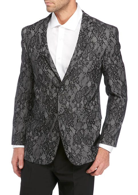 Mens Black and White Floral Jacket