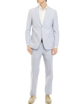 Adolfo Men S Blue White Seersucker Suit Belk