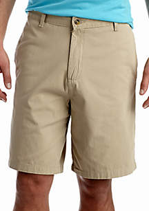 Short Sleeve Multi Stripe Pique Polo & 9-in. Flat-Front Twill Shorts