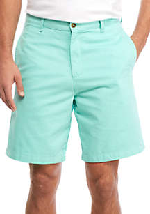 9-in Flat Front Twill Shorts