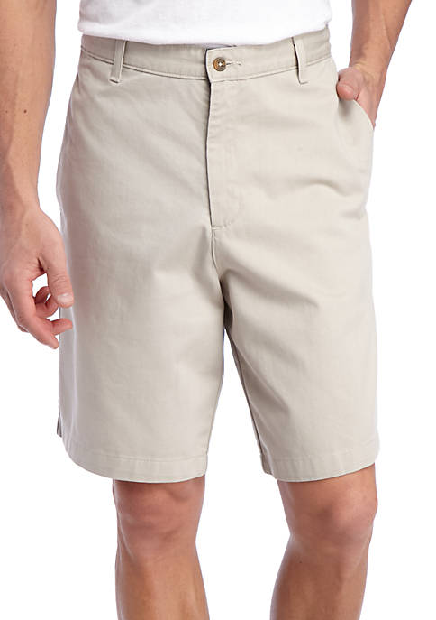 Saddlebred® 9-in Flat Front Twill Shorts