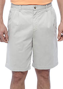 9-in. Comfort Flex Stretch Pleated Twill Short