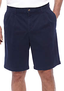 Pleated Stretch Twill Harbor Shorts