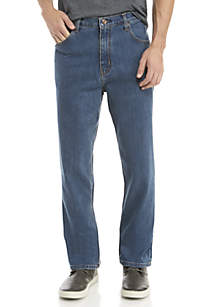 Stretch 5-Pocket Relaxed Medium Wash Jeans