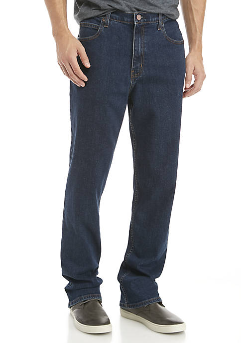 Stretch 5-Pocket Relaxed Dark Wash Jeans