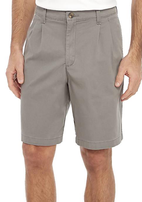 9 in Stretch Pleat Twill Shorts