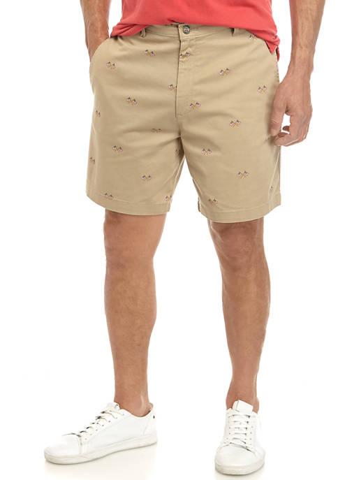 Mens Printed Flag Shorts