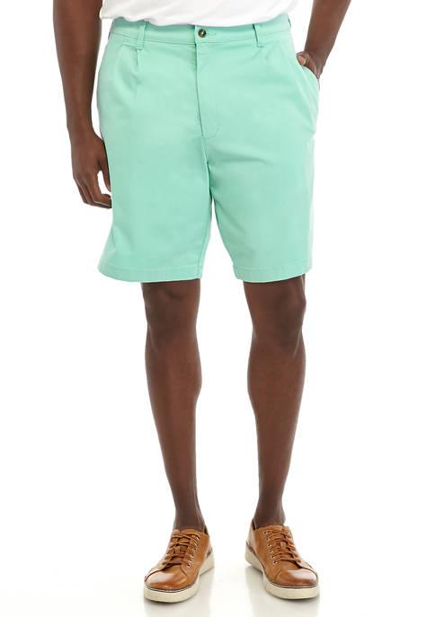 Big & Tall Pleated Aqua Mint Shorts