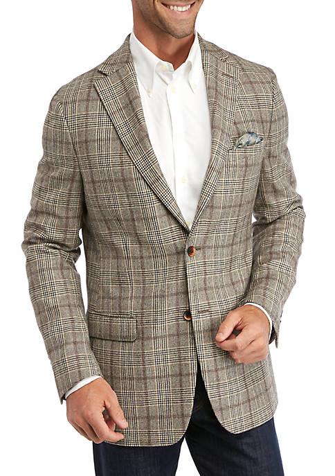 Mens Cream Tan and Black Plaid Sport Coat