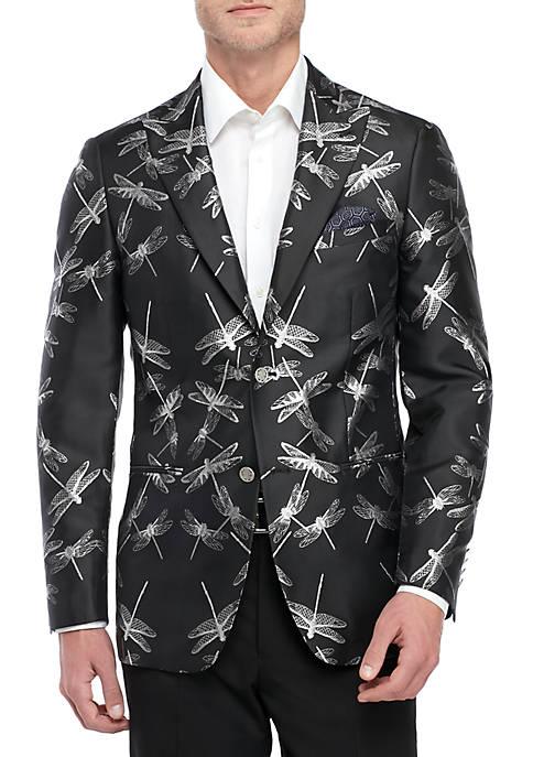 Black Sport Coat with Metallic Dragonflies