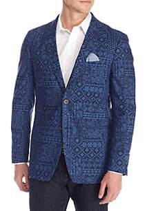 Blue Bandana Print Blazer
