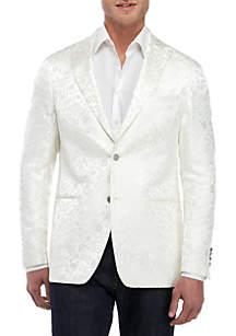 Tallia Orange Tonal White Floral Dinner Jacket