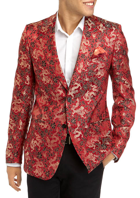 Tallia Orange Mens Gold Dragon Formal Sport Coat