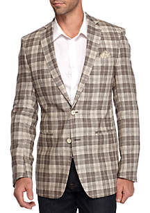 Slim-Fit Tan Plaid Madras Sport Coat