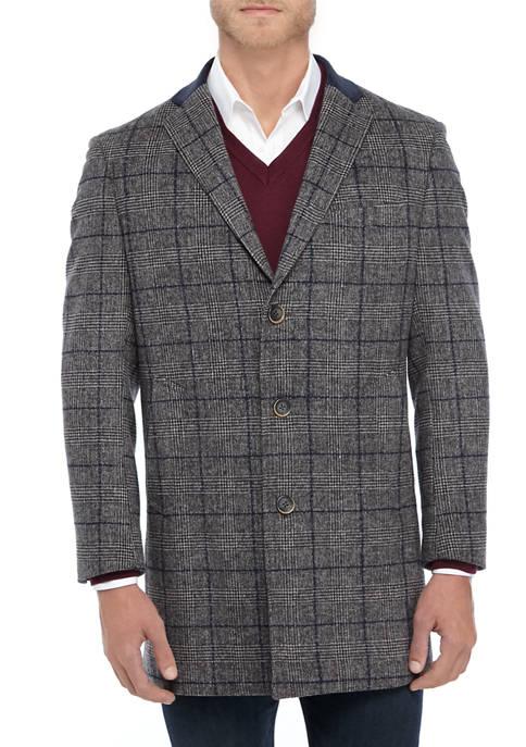 Mens Gray Navy Plaid Sport Coat