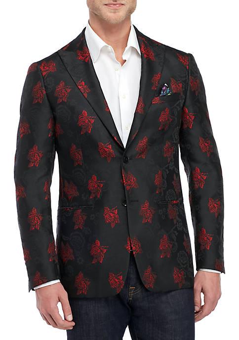 Tallia Orange Black and Red Rose Dinner Jacket