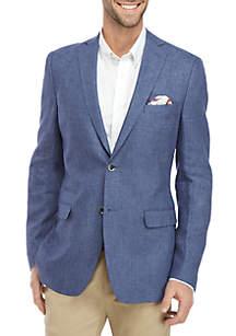 Tallia Orange Blue Textured Solid Linen Dinner Jacket