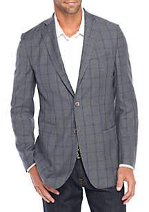 Gray Blue Windowpane Sportcoat