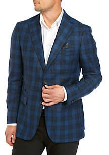Tallia Orange Blue Heathered Plaid Sport Coat