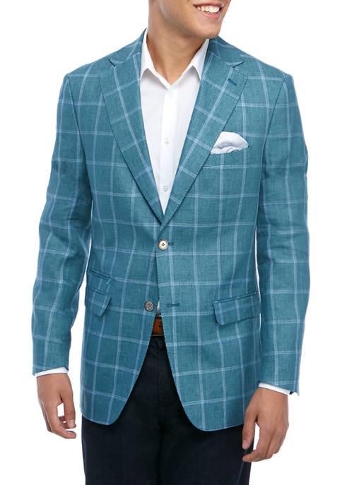 Tallia Orange Mens Green Blue Windowpane Sport Coat