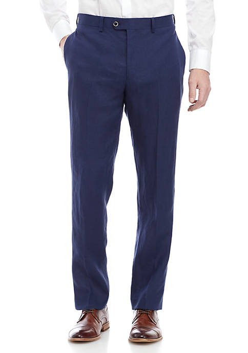 Blue Linen Dress Pants