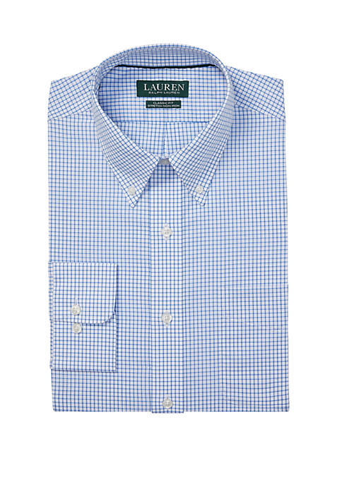 Classic Fit No Iron Checked Cotton Dress Shirt