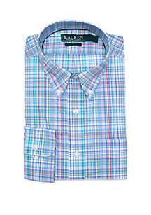 Lauren Ralph Lauren Classic Fit Stretch Turquoise Lime Plaid Button Down Shirt