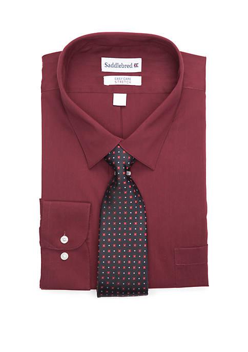 Big & Tall Easy Care Stretch Dress Shirt and Necktie