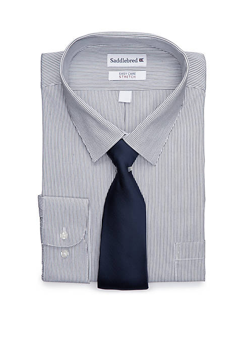 Big & Tall Stretch Easy Care Dress Shirt and Necktie