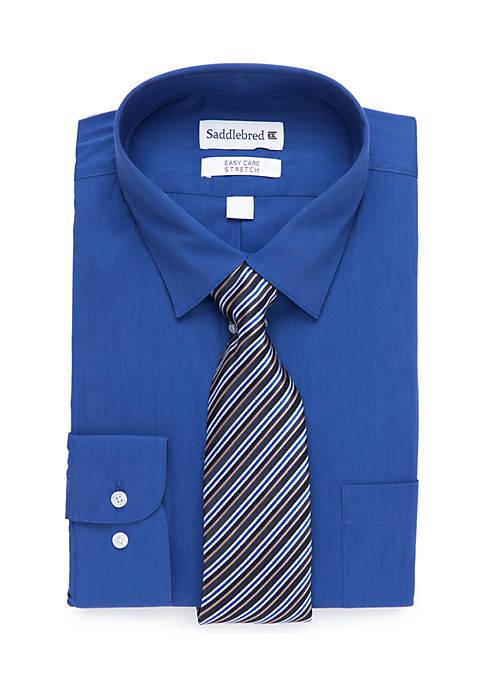 Regular Fit Stretch Collar Dress Shirt and Tie Set