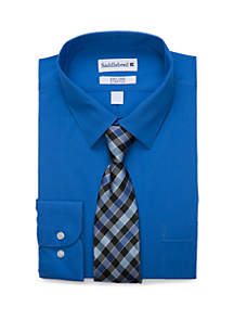 Saddlebred® 2 Piece Stretch Point Collar Solid Button Down Shirt