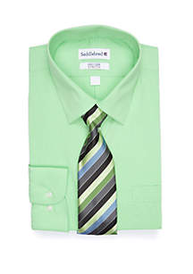 Saddlebred® Straight Collar Solid Kiwi Dress Shirt Set