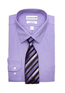 Saddlebred® Regular Fit Stretch Collar Dress Shirt and Tie Set