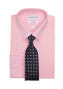Saddlebred® 2-Piece Stretch Point Collar Dress Shirt And Tie
