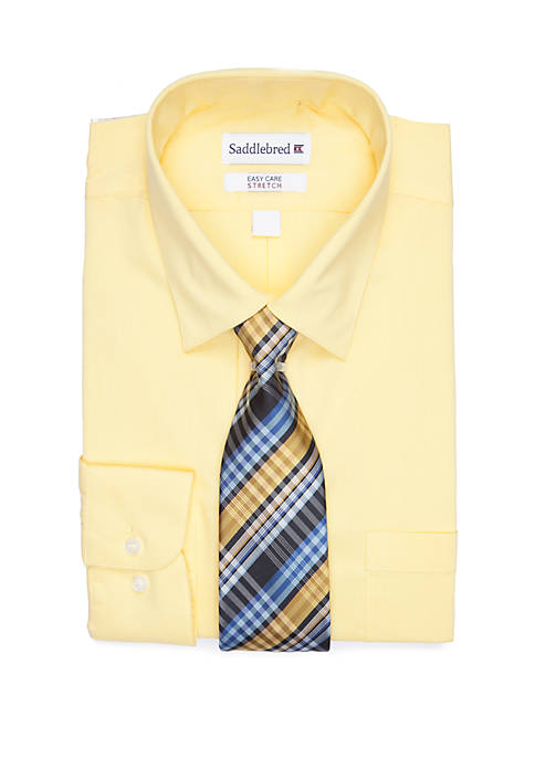 Solid Long Sleeve Dress Shirt and Tie 2-Piece Set