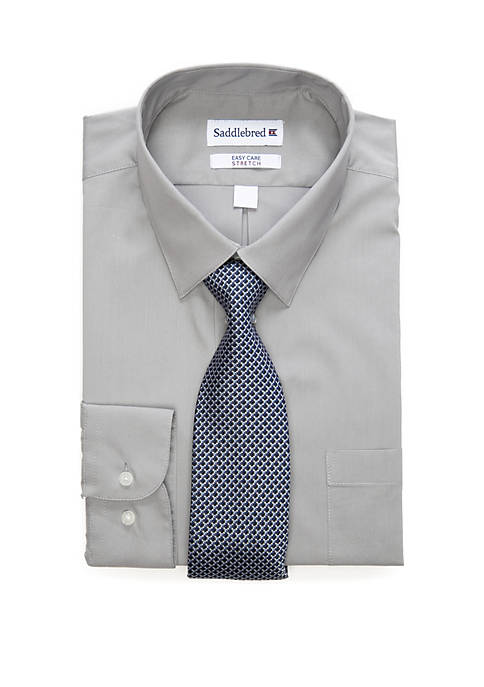 2 Piece Stretch Point Collar Dress Shirt and Tie Set