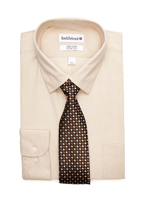 2-Piece Stretch Solid Point Collar Shirt Set