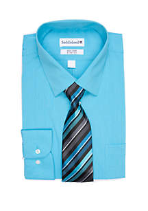 Saddlebred® Solid Long Sleeve Dress Shirt and Tie 2-Piece Set