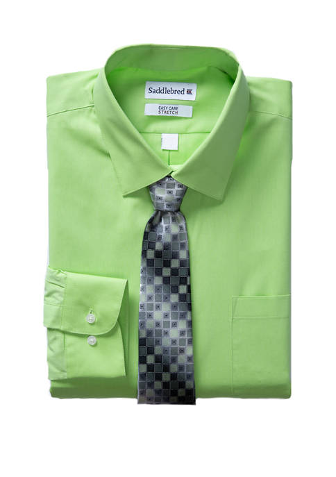 Mens Long Sleeve Stretch Button Down Shirt with Tie