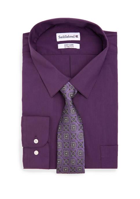 Big & Tall Allover Stretch Tall Dress Shirt & Tie