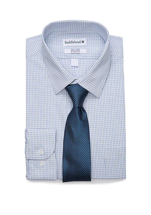 2 Piece Stretch Point Collar Plaid Button Down Shirt